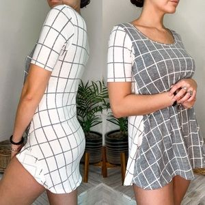LULAROE PERFECT TEE GRAY AND WHITE GRID SQUARES